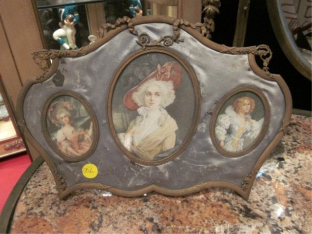 96: ANTIQUE PORTRAITS IN SILK COVERED FRAME, APPROX 8 1