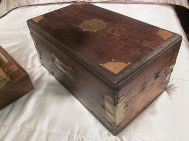 ANTIQUE WRITING BOX WITH HIDDEN PARTMENT BRASS