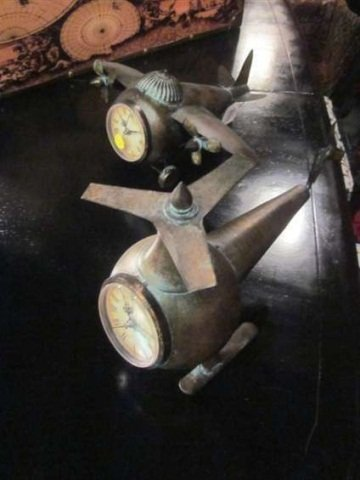 6: 2 PC SET METAL HELICOPTERS WITH CLOCKS, EACH APPROX