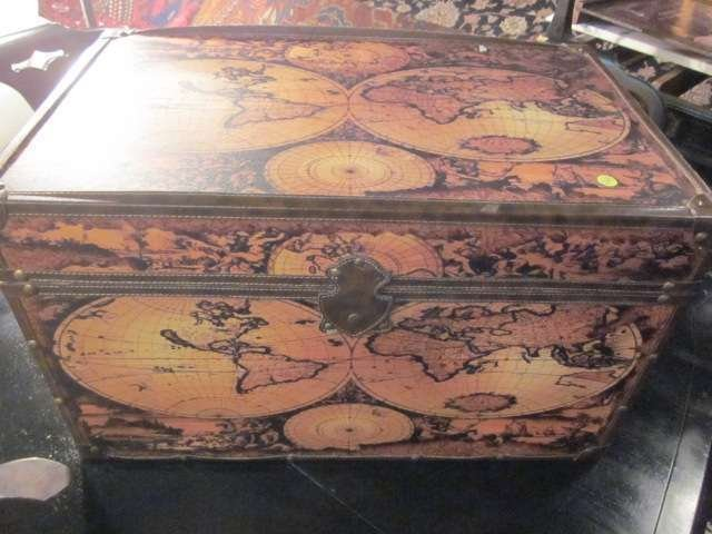 "15: TRUNK WITH ANTIQUE MAP DESIGN, APPROX 30"" LONG"