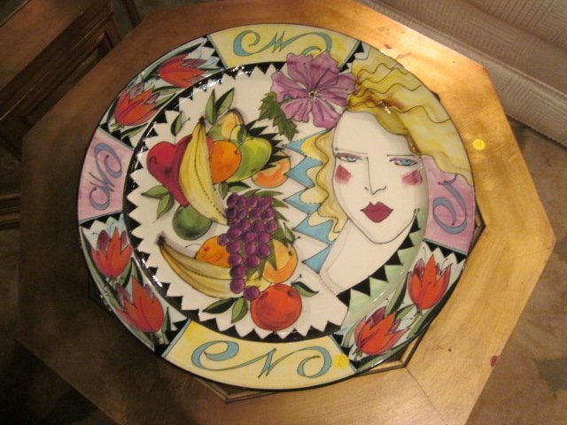 30: CERAMIC ART POTTERY CHARGER, SIGNED ON BACK, APPROX