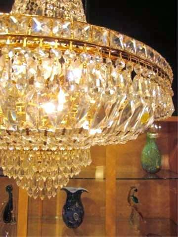 109: SPECTACULAR EMPIRE STYLE LEAD CRYSTAL CHANDELIER W - 3
