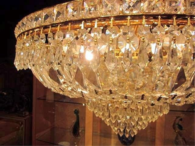 109: SPECTACULAR EMPIRE STYLE LEAD CRYSTAL CHANDELIER W - 5