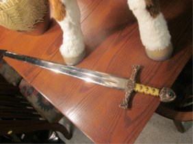 """1: HIGHLANDER OFFICIAL SWORD, MADE IN SPAIN, APPROX 39"""""""