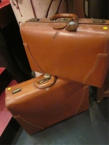 4: 2 VINTAGE LEATHER SUITCASES, BY H&M ST. LOUIS MISSOU