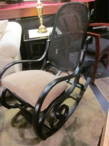 7: BENTWOOD ROCKER WITH CANE BACK AND BLACK FINISH, EXC