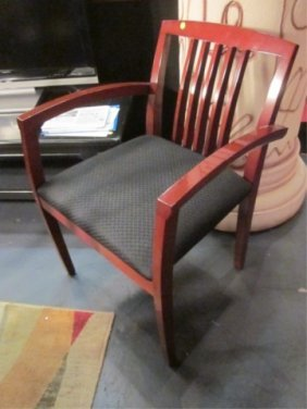 9: PAIR OF CONTEMPORARY ARMCHAIRS WITH MEDIUM WOOD FRAM
