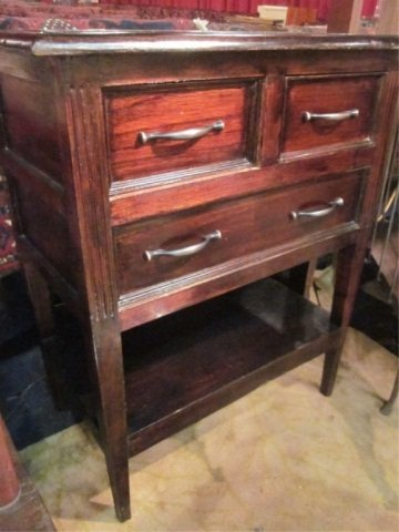 12: #1 OF TWO AVAILABLE DARK WOOD 3 DRAWER CHESTS, EACH