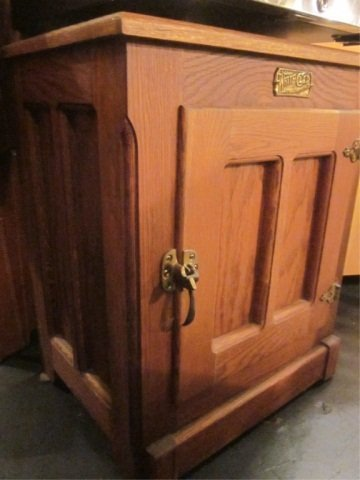 """15: VINTAGE STYLE OAK ICE BOX STYLE CABINET, APPROX 22"""""""