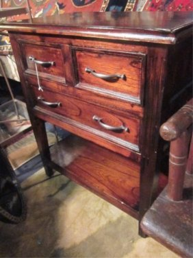 16: #2 OF TWO AVAILABLE DARK WOOD 3 DRAWER CHESTS, EACH