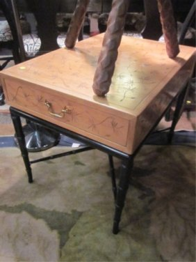 17: SINGLE DRAWER SIDE TABLE BY KITTINGER, LIGHT WOOD T