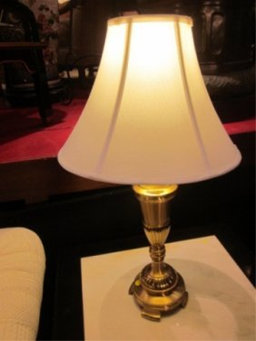 """19: PAIR OF POLISHED BRASS TABLE LAMPS, APPROX 20""""H"""
