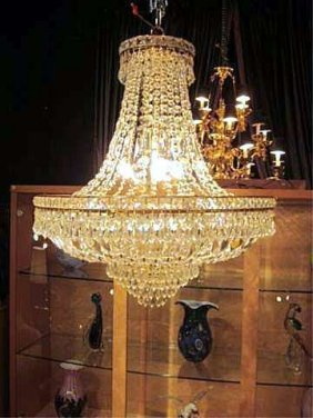107: SPECTACULAR EMPIRE STYLE LEAD CRYSTAL CHANDELIER W