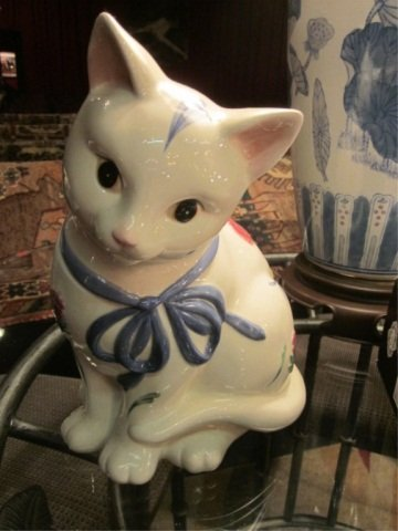 "4: LENOX ""POPPIES ON BLUE"" CAT COOKIE JAR, APPROX 10 1/"