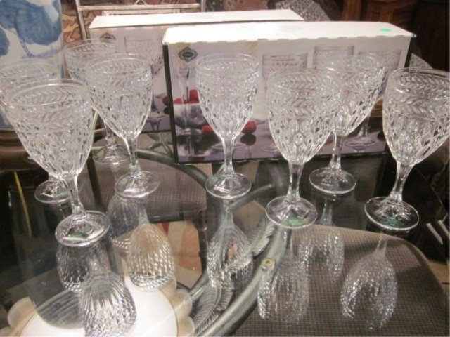 "5: SHANNON CRYSTAL ""SYMPHONY"" EIGHT CRYSTAL GOBLETS WIT"