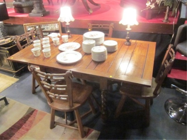 12: ANTIQUE TABLE WITH BUILT-IN LEAVES, TWIST LEGS, AND