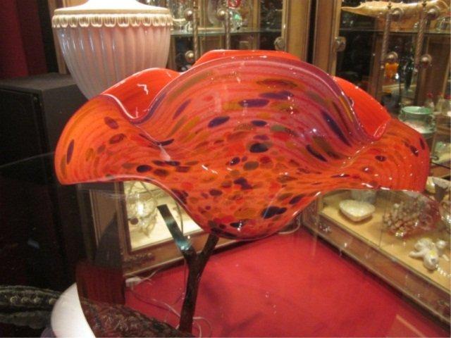 48: HUGE MURANO ART GLASS CENTERPIECE BOWL, RED CLAMSHE