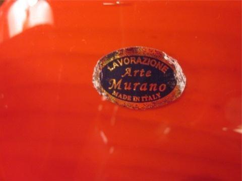 48: HUGE MURANO ART GLASS CENTERPIECE BOWL, RED CLAMSHE - 6
