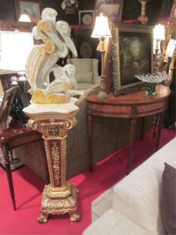 130: ORNATE MARBLE TOP IONIC COLUMN STYL PEDESTAL WITH