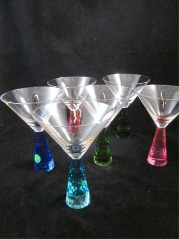 132: SET OF SIX MARTINI GLASSES WITH FACETED JEWEL COLO