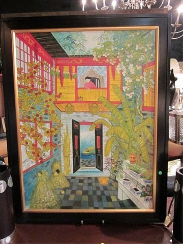 137: CHINESE PAINTING OF A WOMAN IN A BALCONY WINDOW, A