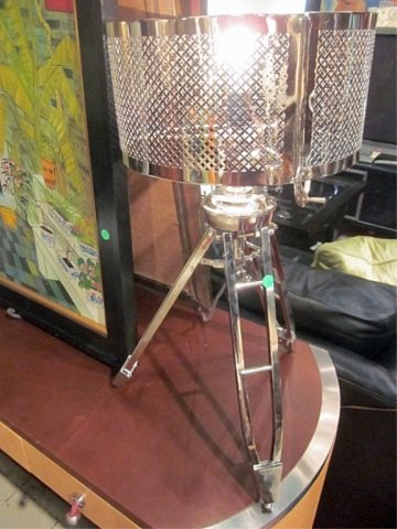 140: NEW, NEVER USED CONTEMPORARY CHROME TRIPOD LAMP, A