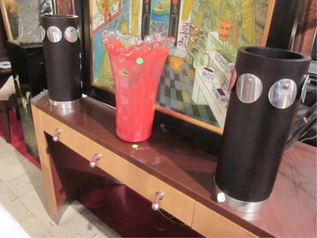 141: PAIR OF NEW, NEVER USED CONTEMPORARY VASES, BLACK