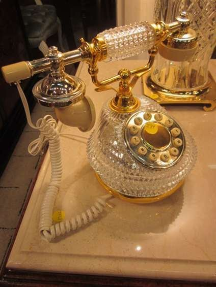 144: VINTAGE FRENCH STYLE TELEPHONE WITH CRYSTAL BASE