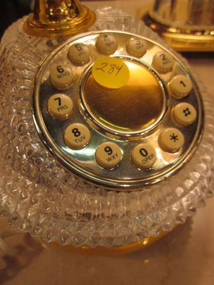 144: VINTAGE FRENCH STYLE TELEPHONE WITH CRYSTAL BASE - 2