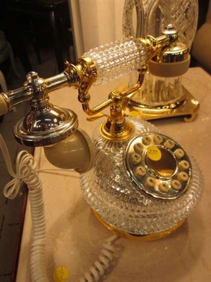 144: VINTAGE FRENCH STYLE TELEPHONE WITH CRYSTAL BASE - 3