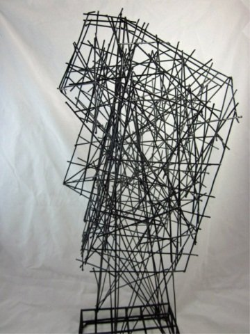 """167: ABSTRACT WIRE SCULPTURE OF A FACE, APPROX 22"""" HIGH - 2"""