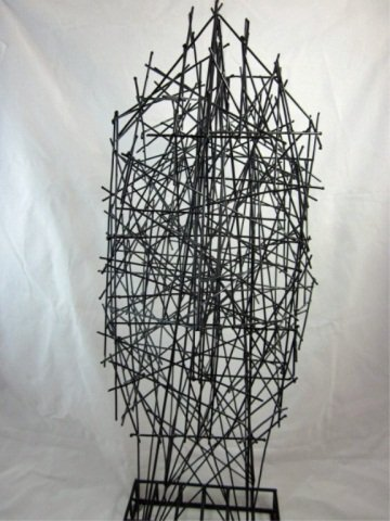 """167: ABSTRACT WIRE SCULPTURE OF A FACE, APPROX 22"""" HIGH - 3"""