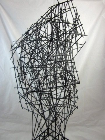 """167: ABSTRACT WIRE SCULPTURE OF A FACE, APPROX 22"""" HIGH - 4"""