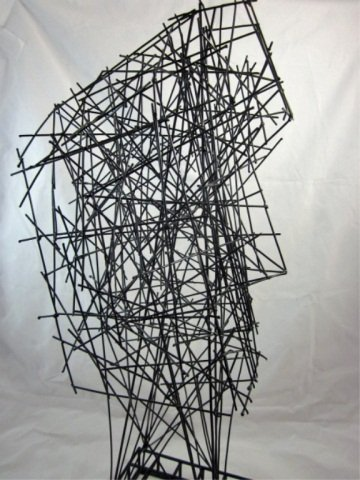 """167: ABSTRACT WIRE SCULPTURE OF A FACE, APPROX 22"""" HIGH - 5"""