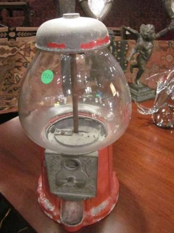 """1: VINTAGE GUMBALL MACHINE, APPROX 15"""" HIGH"""