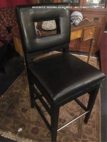 5: NEW, NEVER USED BLACK LEATHER BARSTOOL WITH CUTOUT B