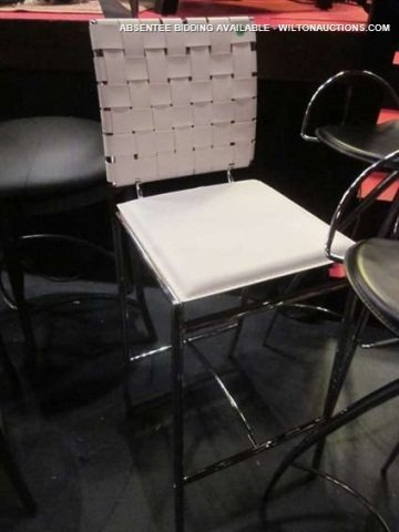 6: NEW NEVER USED WHITE LEATHER BARSTOOL WITH WOVEN BAC