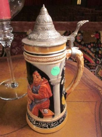"""8: BEER STEIN MADE IN GERMANY, APPROX 11 1/4"""" HIGH"""