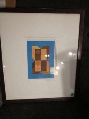 "12: GEOMETRIC ART, SIGNED BY ARTIST, APPROX 19"" X 17"" F"