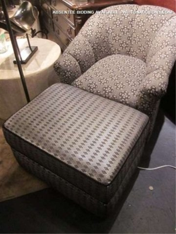 13: ARMCHAIR AND OTTOMAN WITH CUSTOM METALLIC AND SILVE