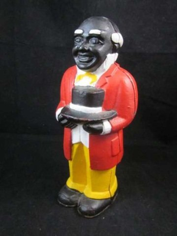 14: CAST IRON BANK OF A MAN HOLDING A HAT, APPROX 9 3/4