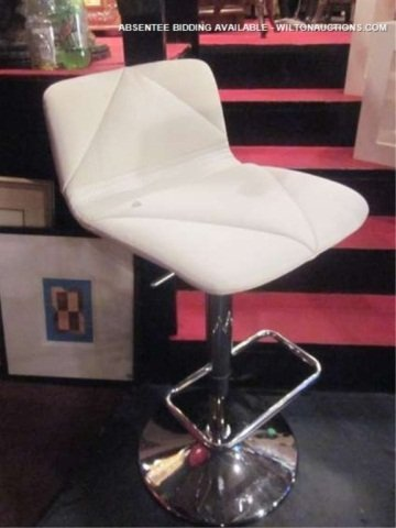 17: NEW, NEVER USED WHITE LEATHER AND CHROME BARSTOOL W