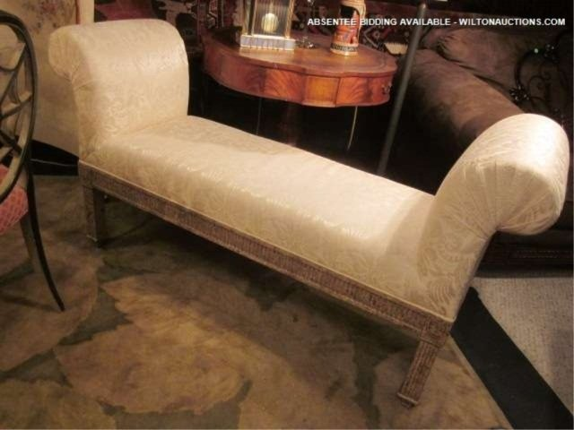 26: WHITE UPHOLSTERED BENCH WITH TONE ON TONE FABRIC AN