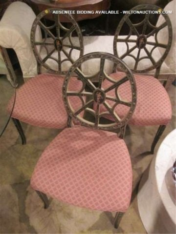 28: 3 PC SET VINTAGE CHAIRS WITH SPIDER WEB BACKS, INTR
