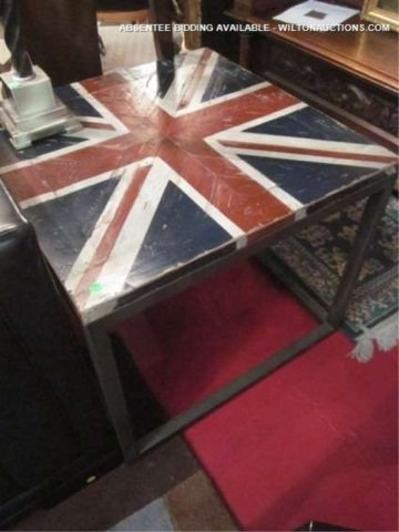 31: NEW, NEVER USED CONTEMPORARY TABLE WITH BRITISH FLA