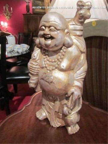 32: CARVED WOODEN BUDDHA SCULPTURE WITH ANTIQUE SILVER