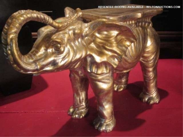 """36: SMALL GOLD FINISH ELEPHANT SIDE TABLE, APPROX 20"""" L"""