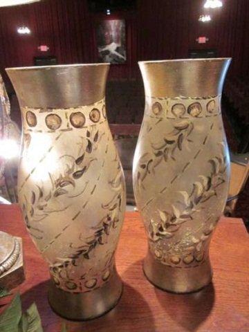 41: PAIR OF RAPHAEL SERRANO HANDPAINTED GLASS HURRICANE