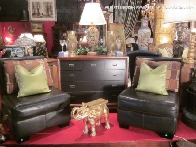 42: PAIR OF CHOCOLATE LEATHER SLIPPER CHAIRS WITH CONTE