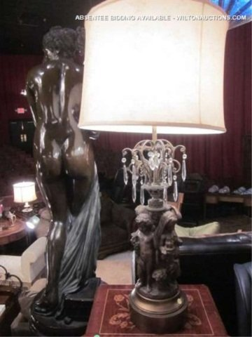 """62: LARGE FIGURAL LAMP WITH CRYSTAL DROPS, APPROX 35"""" T"""